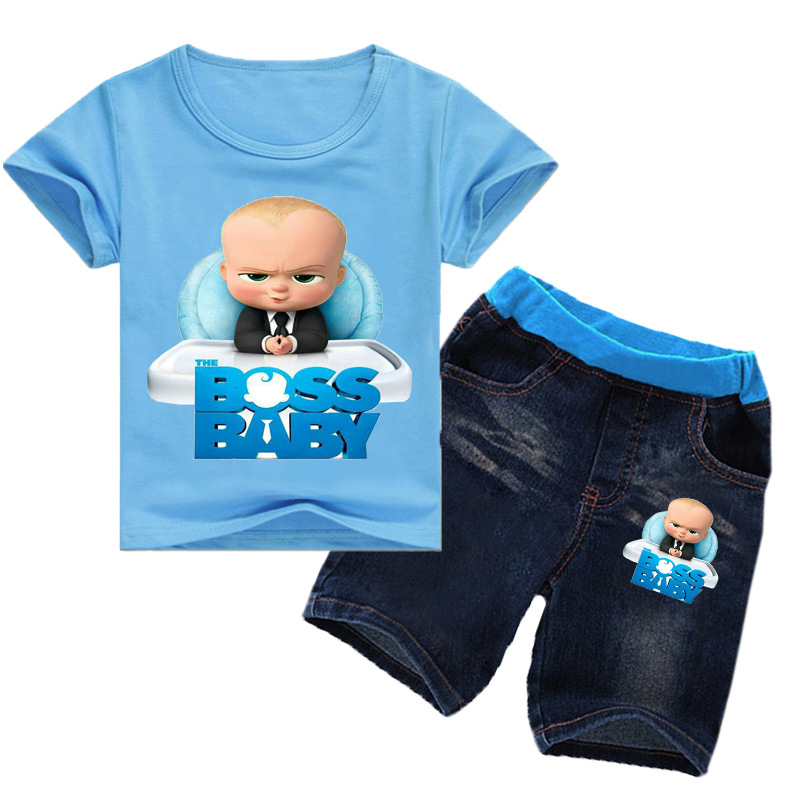 2-14Years Kids Girls Clothes Set Boss Baby T-shirt Denim Shorts Jeans 2pcs Sets Toddler Boys Outfits Boutique Kids Clothing 1