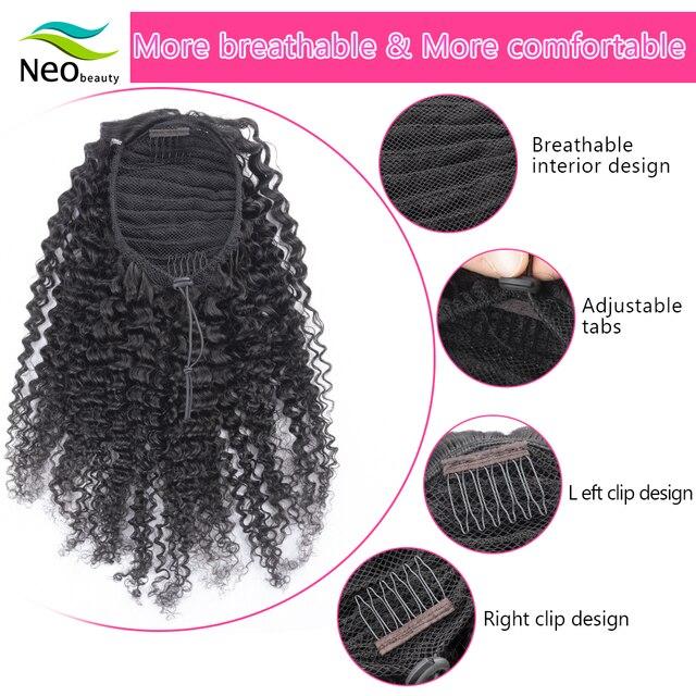 NeoBeauty человеческие волосы конский хвост кудрявые шнурки афро конский хвост наращивание волос на заколках человеческие волосы для наращива...