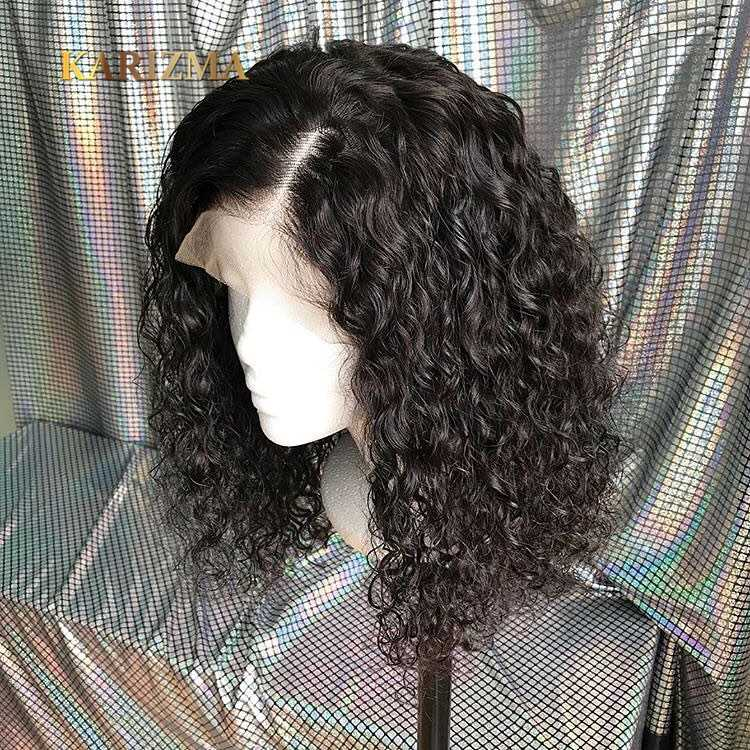 13X4 Brazilian Hair Bob Wig With Baby Hair Pre Plucked Karizma Short Water Wave Lace Front Wig Human Hair Wigs For Black Women