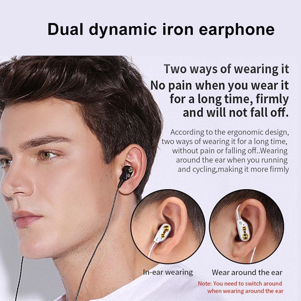 Balanced Armatured + Dynamic Earphones 2 Drivers Moving Coil Iron 3.5mm Universal In-Ear Wired Earphone Newest 3D Stereo Headset