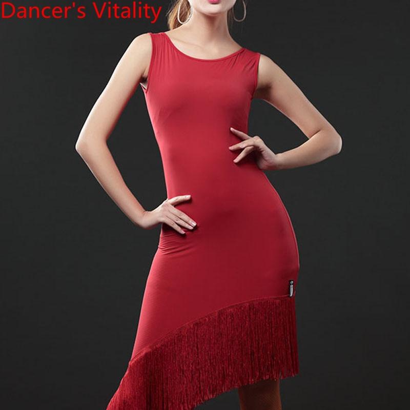 Latin Dance Practice Clothes Women New Sleeveless Tassel Dress Rumba Samba Tango Cha Cha Salsa Dancing Stage Training Outfits