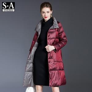 2020 Vrouwen Dubbelzijdig Lange Donsjack Winter Coltrui Plaid Witte Eend Down Jas Vrouwelijke Warme Parka Sneeuw Bovenkleding Vrouw(China)