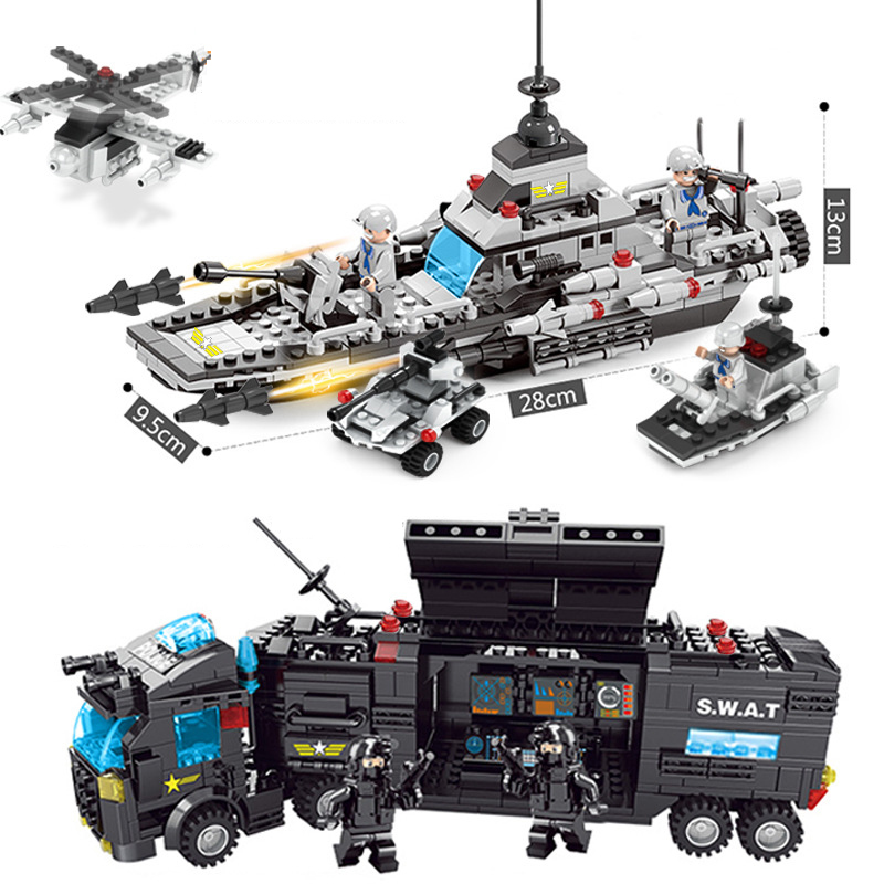 Aircraft Building Blocks Tank Blocks Airplane Warship Military Combat Command Vehicle Block Bricks Compatible With Model