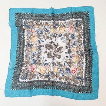 Russian Small Scarf Handkerchief 70x70CM Ethnic Floral Pattern Printed Women Neck Head Hijab Headband Style Ukraine