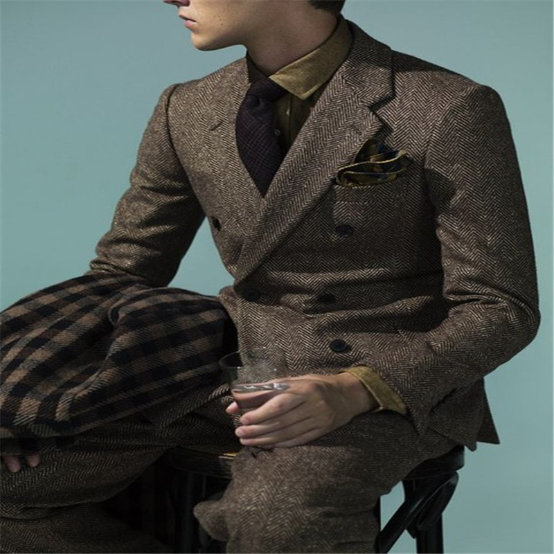 2019 Men Suit With Pants Groom Prom Tuxedo Blazer Double Breasted Tweed Suit Business Party Wedding Suits For Men