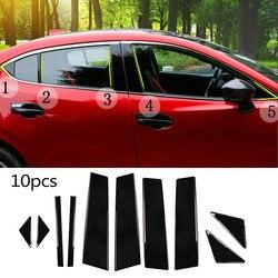 Czarne słupki słupkowe do mazdy 3 Axela 2014 2017 10 zestaw pc pokrywa panel drzwiowy w Chromowane wykończenia od Samochody i motocykle na