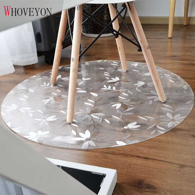 New Transparent Wood Floor Protection Mat PVC Plastic Floor Carpet Computer Chair Mats Protectors Round Carpet Living Room Rugs image