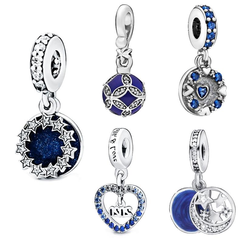 New 2019 Winter 925 Sterling Silver Beads Sparkling Hearts Dangle Charms Fit Original Pandora Bracelets Women DIY Jewelry