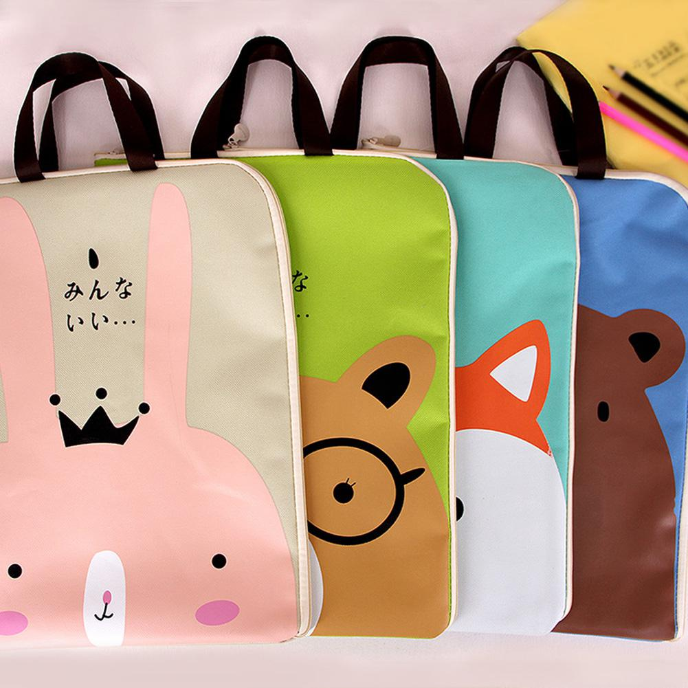 Adeeing A4 File Document Bag Zipper Handbag Waterproof Cartoon Stationery Holder Office School Supply D25