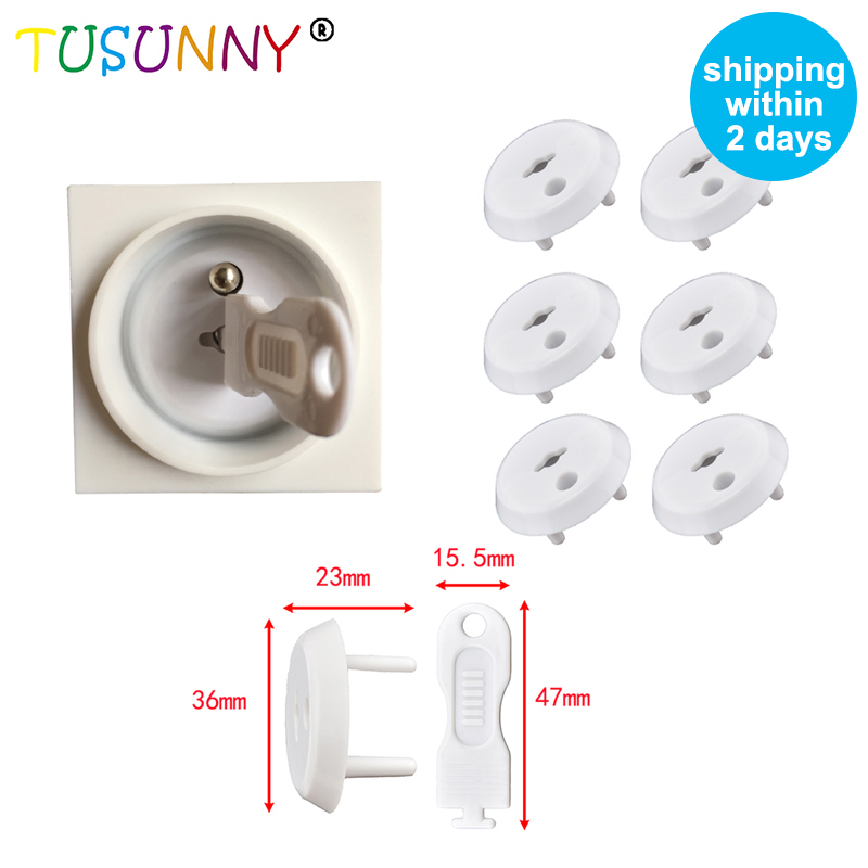 TUSUNNY 6pcs/lot French Standard Power Socket Electrical Outlet Baby Children Safety Guard Protection Plugs In Sockets