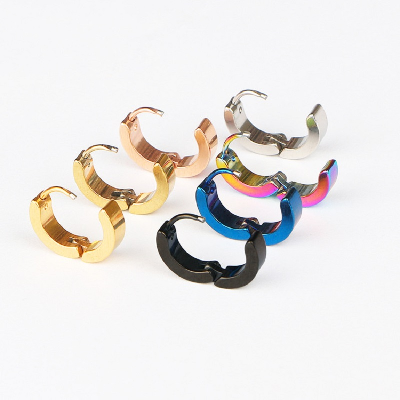1 Pair Men Women Punk Stainless Steel Ear Circle Earring Simple Ear Buckle Gothic Fashion Jewelry Hot Selling Pop Jewelry