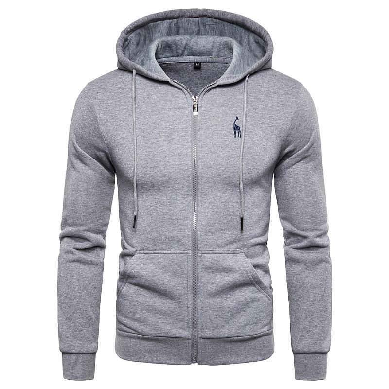 2019 New Autumn Winter Cotton Hoodied Mens Sweatshirts Solid Hoody Fleece Thick Hoodies Men Sportswear Zipper Sweatshirts Men 1