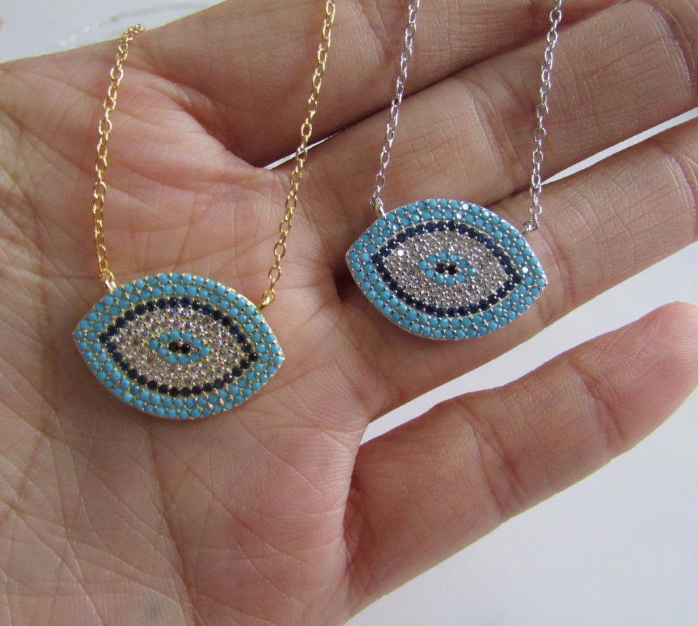 NEW Authentic 925 sterling silver EVIL EYE Luxury women fashion cz blue stone silver necklace