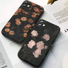 Retro flowers chrysanthemum leaves phone case for iPhone 11 12pro max x xr xsmax 6 7 8 plus 5 SE Black matte silicone cover
