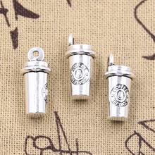 6 sztuk Charms 3D kubek do kawy 21x10x10mm antyczne srebro kolor zawieszki DIY rzemiosło dokonywanie ustalenia Handmade tybetański biżuteria tanie tanio eunwol Żywność i napoje CN (pochodzenie) like photo Metal Ze stopu cynku TRENDY