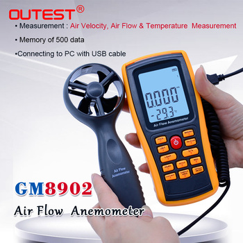 GM8902 0-45M/S Digital Anemometer Wind Speed Meter Air Volume Ambient Temperature Tester With USB Interface with carry box