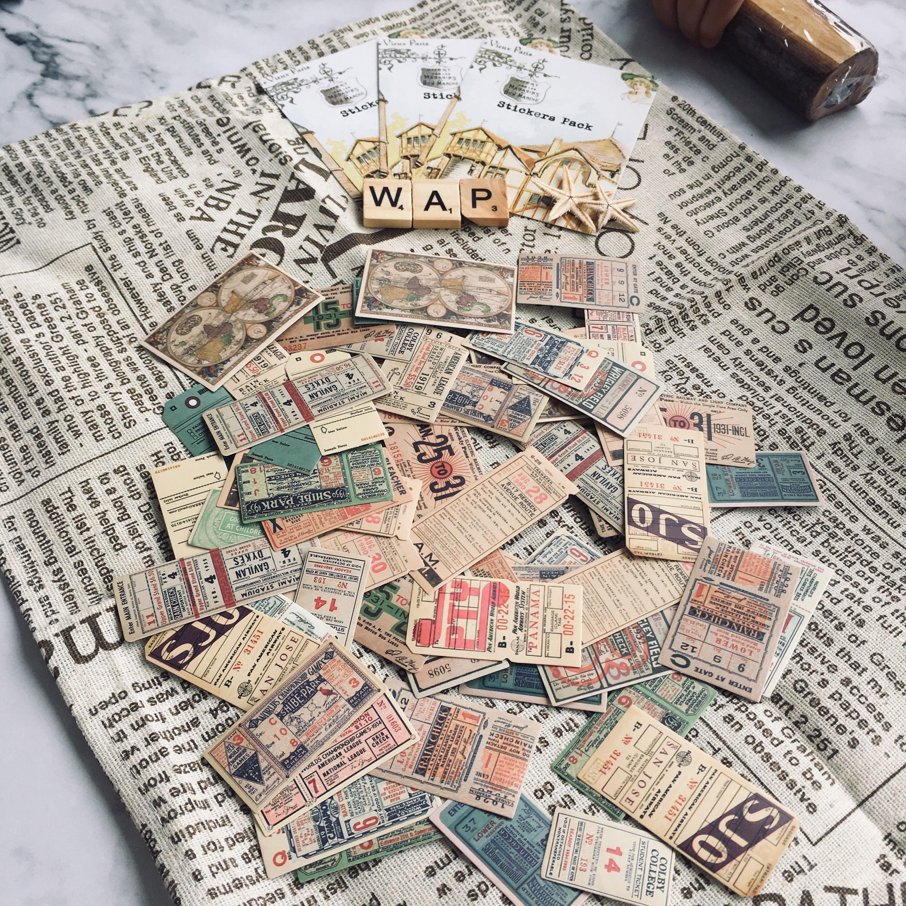 New 2 Pack/lot Tim Holtz Style Vintage Retro Tickets Old Paper Bill Europe Map Decorative Sticker DIY Scrapbooking Planner Album
