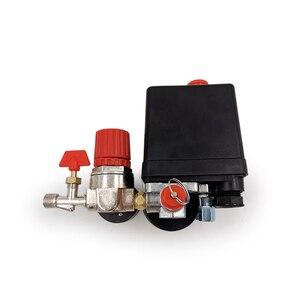 Image 2 - Válvula de controle de pressão, regulador ac de 240v, bomba compressora de ar resistente, interruptor de controle de pressão de 4 portas, válvula de controle de bomba de ar 90 120psi com medidor de calibre,