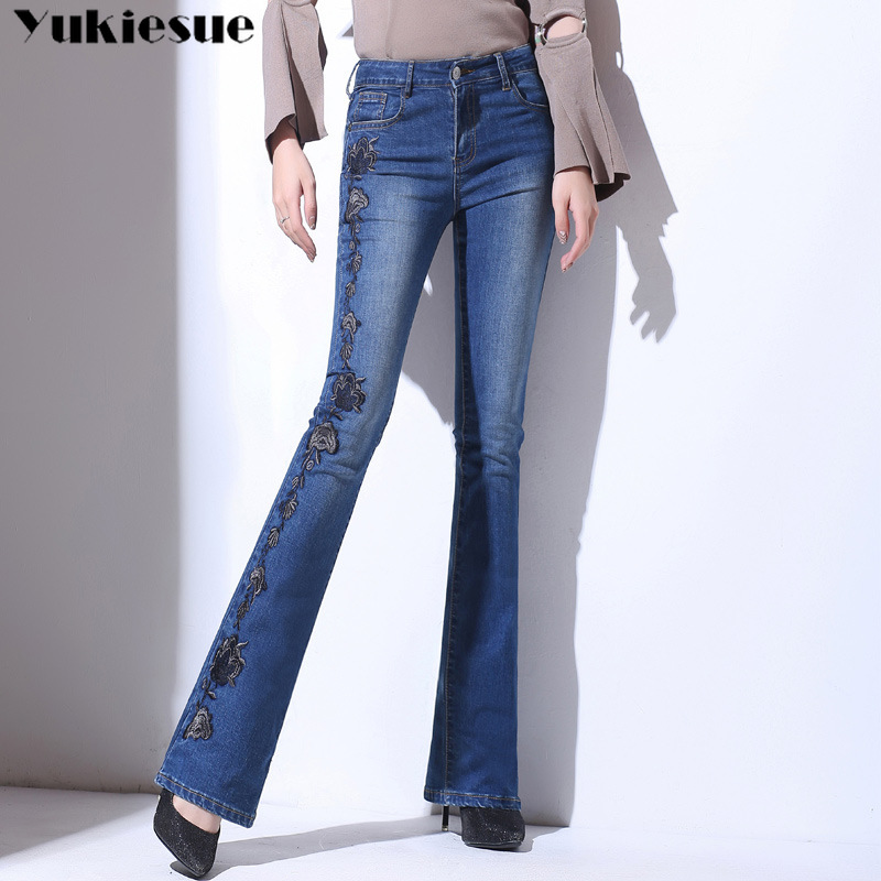 Embroidery Push Up Flare Hem Jeans Woman Long Denim Trousers Vintage Pants Capris 2019 High Waist Stretch Women Jeans Plus Size
