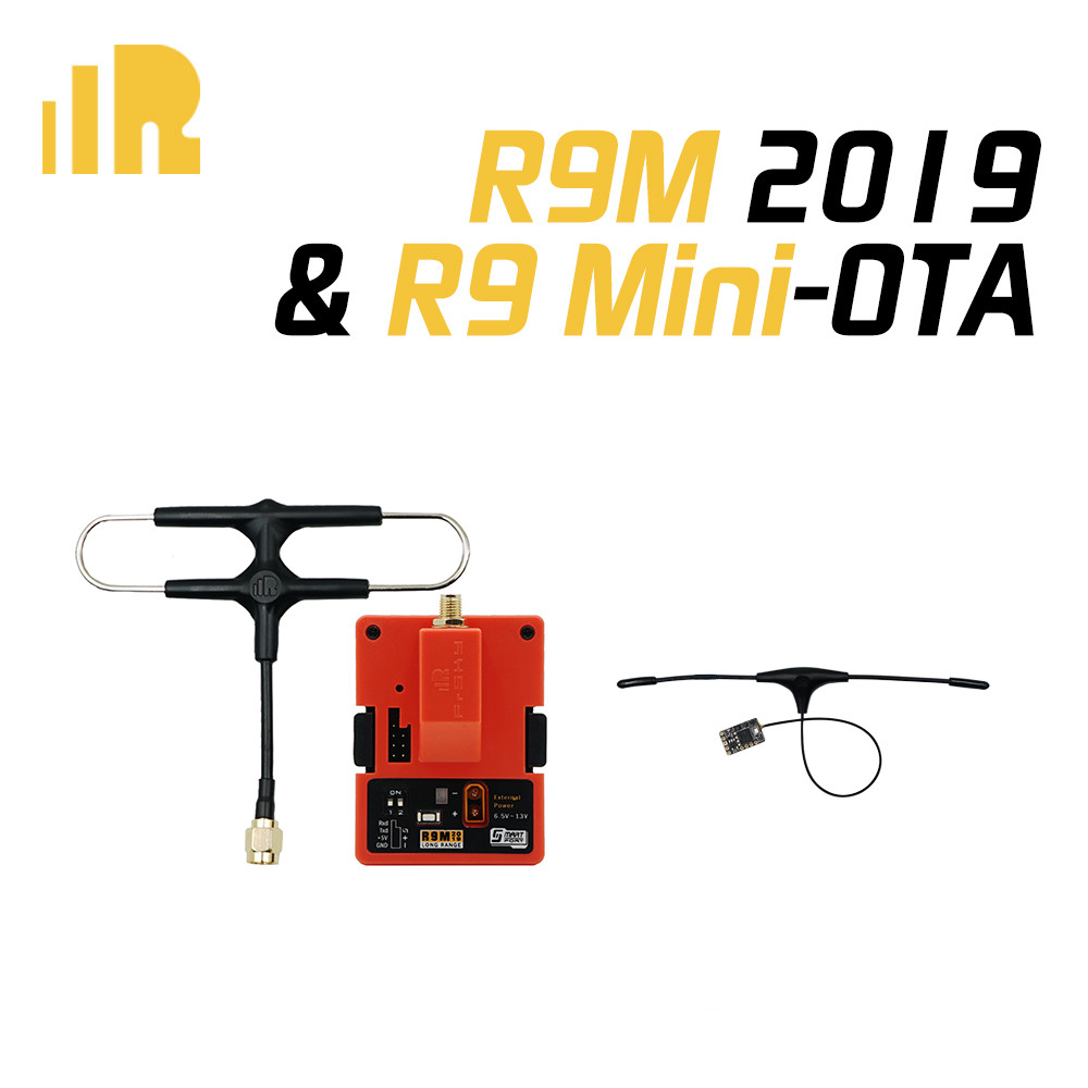 FrSky R9M 2019 Module And R9MM R9Mini R9 Slim+ OTA Receiver With Mounted Super 8 And T Antenna