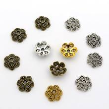 50Pcs 11.5x4mm Crimp Hollow Flower Loose Sparer End Bead Caps for Jewelry Making Finding Diy Accessories Component Wholesale(China)