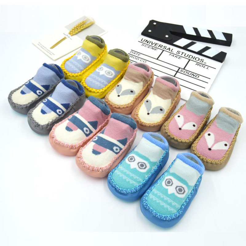 2019 Fashion Baby Socks With Rubber Soles Infant Sock Newborn Autumn Winter Children Floor Socks Shoes Anti Slip Soft Sole Sock in First Walkers from Mother Kids