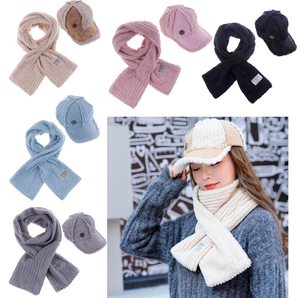 Women Mens Warm Cashmere Soft Scarf Shawl Wrap Scarves Baseball Hat Cap Set