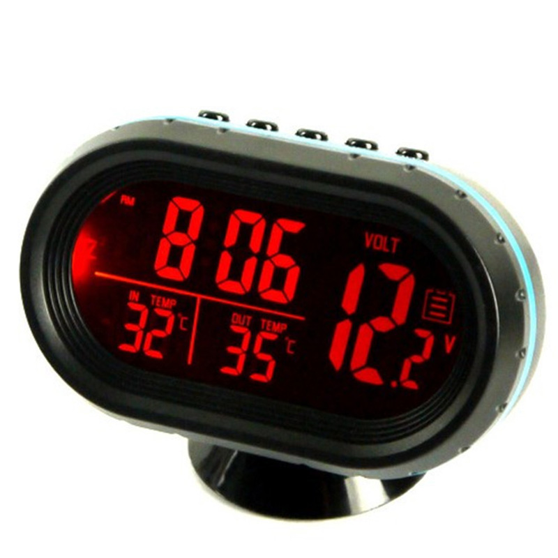 Car Clock Date Digital Display Indoor Outdoor Thermometer Voltage Monitor Kit