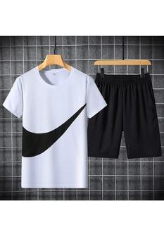 2021 New Men's T-shirt + Sports Shorts Set Summer Breathable Casual T-shirt Running Set Fashion Harajuku Printed Male Sport Suit 6