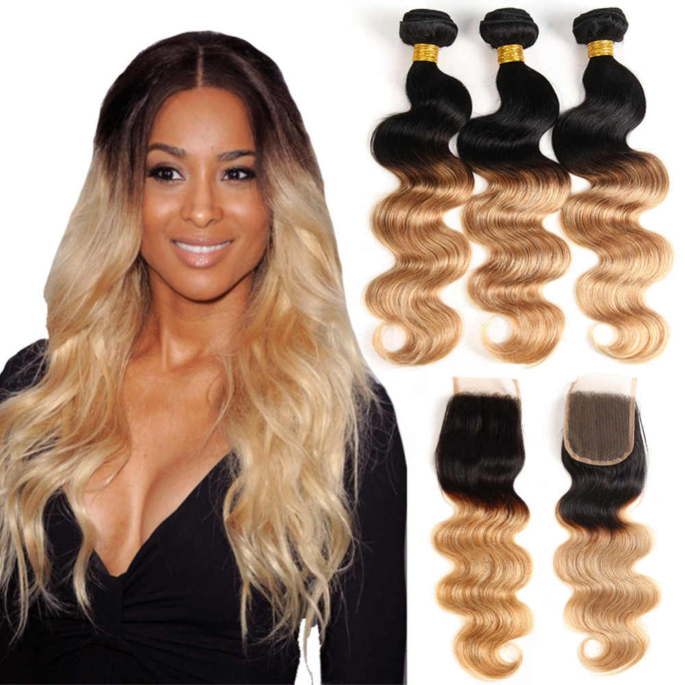 Onda do corpo brasileiro ombre pacotes com fechamento cabelo loiro tecer pacotes 3 feixes de cabelo humano com fechamento de renda não remy