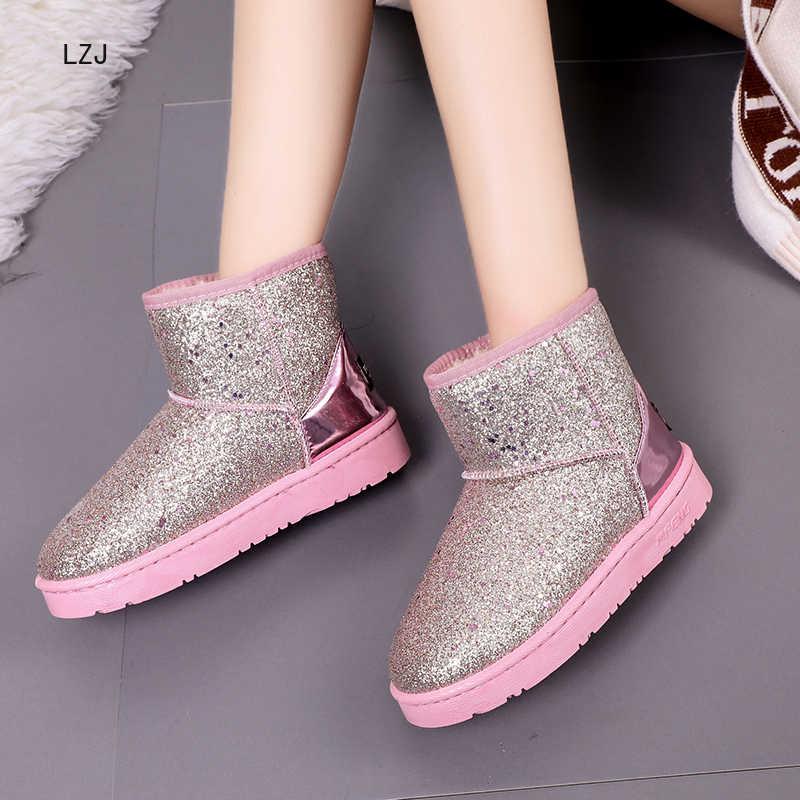 Neue Warme Winter Stiefel für Frauen Knöchel Stiefel Schnee Mädchen Stiefel Weibliche Schuhe Wildleder mit Plüsch Einlegesohle Botas Mujer Zapatos de Mujer