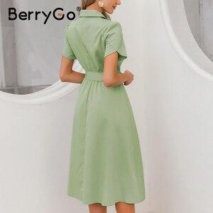 Image 3 - BerryGo Elegant ruffle green dress women High waist belt OL midi dress female vestidos Casual short sleeve office dress ladies