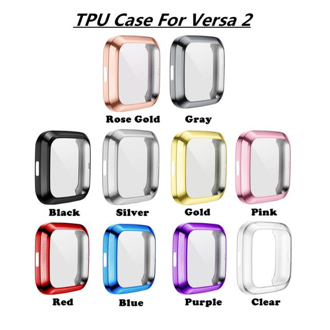 Fitbit Versa 2 Smart Watch Cover Slim Soft TPU Case Screen Protectors Full Cover Smart Watch Accessories Protection Anti Scratch