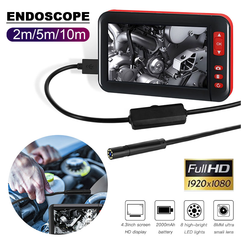 1080p 4.3 Inch Ear Spoon Borescope Endoscope Practical Durable Real Time Video Monitoring Photos Microscope F200|Borescopes| |  - title=