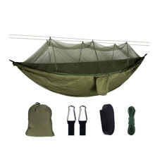 Portable Outdoor Camping Hammock with Mosquito Net High Strength Parachute Fabric Hanging Bed Hunting Sleeping Swing super strength folding nylon hammock hanging swing hamak beach camping patio sleeping tree bed with 2 strap 2 carabiner