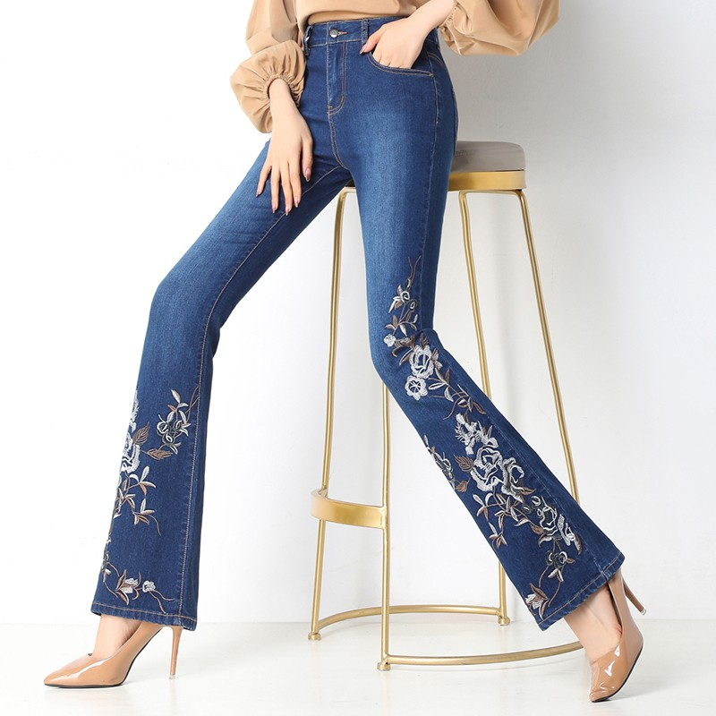Wide Leg Jeans Women Denim Long Flare Jeans Embroidery High Waist Lady Elegant Slim Capris Ethnic Style Trousers Stylish Pants