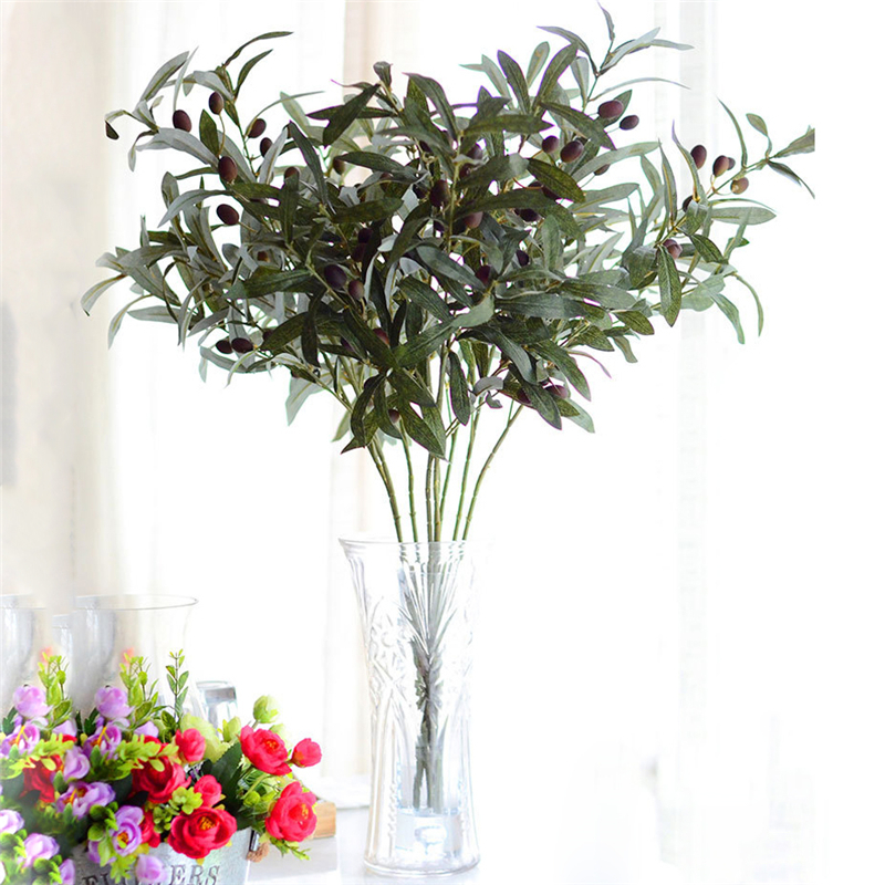 72cm Artificial European Olive Tree Branches Leaf With Olive Fruit Leaves For Home Wedding Decor Green Fake Flowers