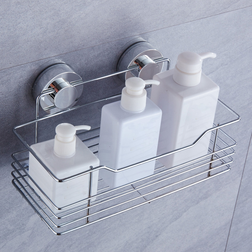 Suction Cup Wall Shelf Shower Gel Holder Bathroom Storage Kitchen Rustproof Stainless Steel Rack