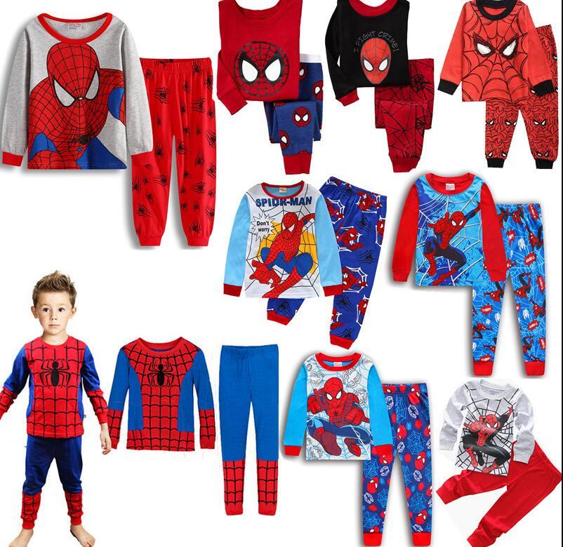 Baby Top+Pants Sleepwear Boy Homewear Pajamas Clothes Spiderman Superman Outfit