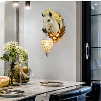 Modern Lucky Horse Resin Wall Lamp Nordic Creative Fine Relief Living Room Holiday Decoration Vanity Light Wall Sconce Deco Lamp