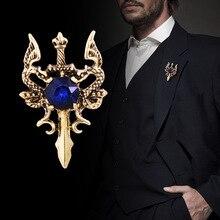 Nuevo broche con espada de dragón de Metal Vintage Pin Animal pines para solapa de strass traje camisa insignia ramillete accesorios de joyería