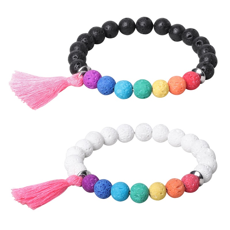 Natural Stone Lava 8mm Colorful Beads Tassel Bracelet Strand Bracelets Men or Women Fashion Jewelry Wholesale TR558