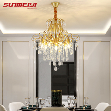 Nordic LED Crystal Chandeliers Ceiling For Dining room Bedroom Hall Corridor Modern Gold Hanging Lamp Fixture Living room люстра цена 2017
