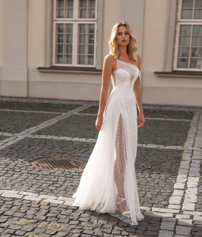 Boho Wedding Dress One Shoulder Lace Sexy Side Slit Beach Wedding Dresses Backless Wedding Gown Bride Dress Vestido De Noiva