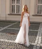 Boho Wedding Dress One Shoulder Lace Sexy Side Slit Beach Wedding Dresses Backless Wedding Gown Bride Dress Vestido De Noiva