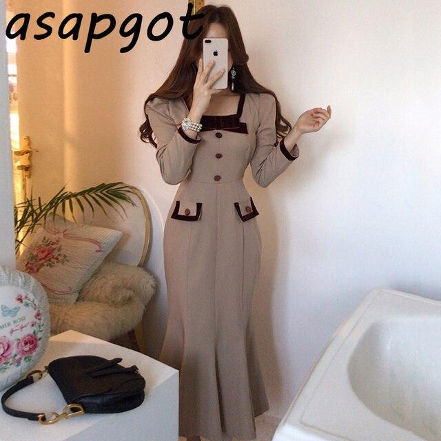 Chic Elegant Autumn Bow Hit Color Button Slim Fit Waist Patchwork Square Neck Mermaid Dress Fashion Vintage Vestido De Mujer 2