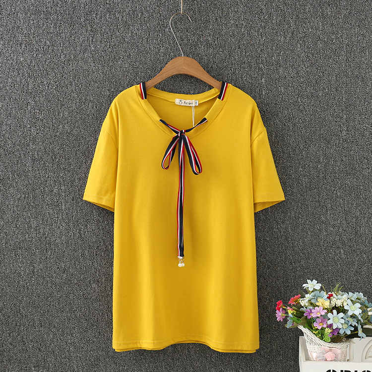 2020 Summer Women Tshirt short sleeve Casual Solid Color Bow Loose Tops Tees Girls Tshirts image