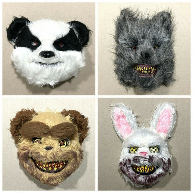 Halloween Scary Bloody Latex Animal Wolf Head With Hair Mask Fancy Dress Costume Party Horror Mask Adult/Kids 3