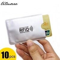 Lector de bloqueo de Anti RFID, soporte de tarjeta de crédito antirrobo inteligente, de aluminio, 10 Uds.