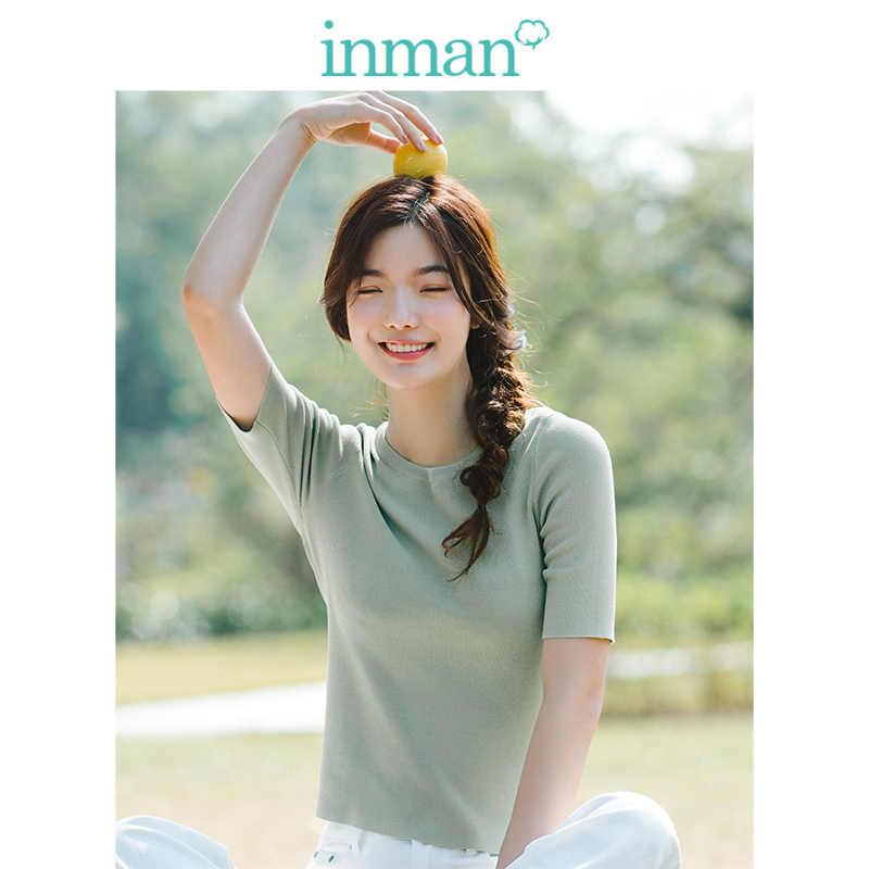 INMAN 솔리드 오 넥 패션 레트로 홍콩 스타일 슬림 반소매 여성 풀오버